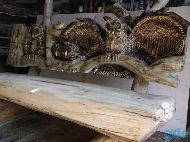 Декоративные скамейки,колодцы со скульптурами из дерева., фотография 11