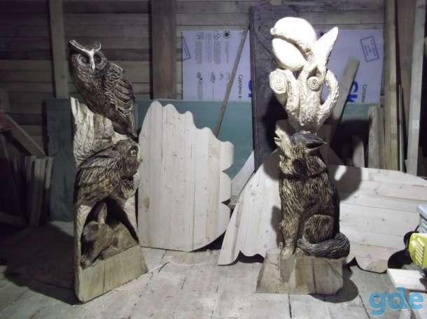 Декоративные скамейки,колодцы со скульптурами из дерева., фотография 8