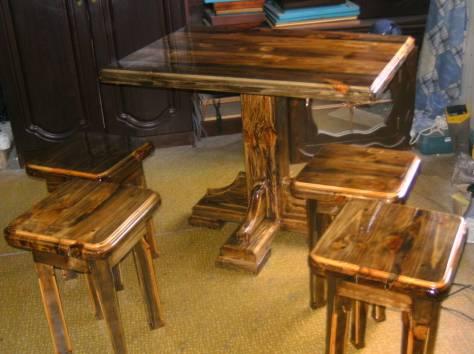 стол и 4 табуретки ручной работы, фотография 1