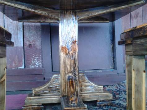стол и 4 табуретки ручной работы, фотография 2