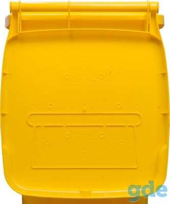 Пластиковый мусорный контейнер 120 литров желтый, фотография 2