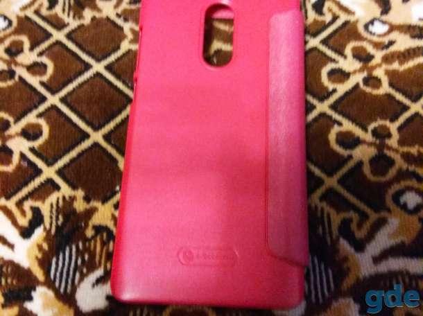 Слип книжка для телефона Сяоми Редми Ноте 4Х новая розовая с окошком., фотография 4