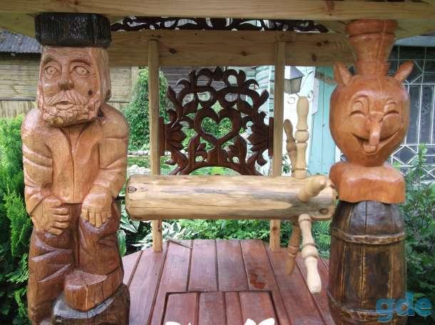 Декоративные скамейки,колодцы со скульптурами из дерева., фотография 3