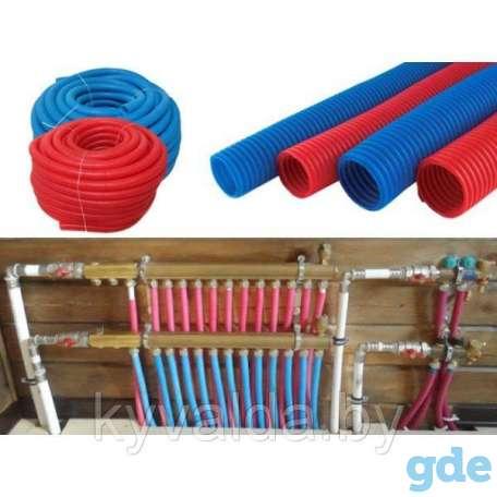 Трубка защитная гофрированная полимерная красная, синяя (пешель), фотография 1
