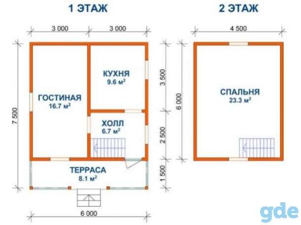 Сруб дома 6х7.5 м проект